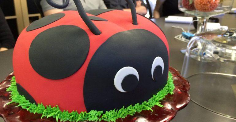 Ladybug birthday cake by Erin Kauffman